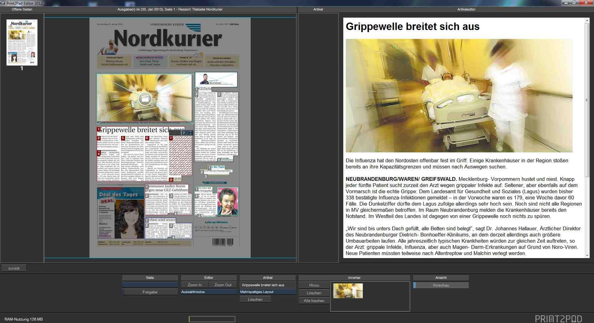 Print2Pad Editor Ansicht Seitenbearbeitung mit Artikelansicht